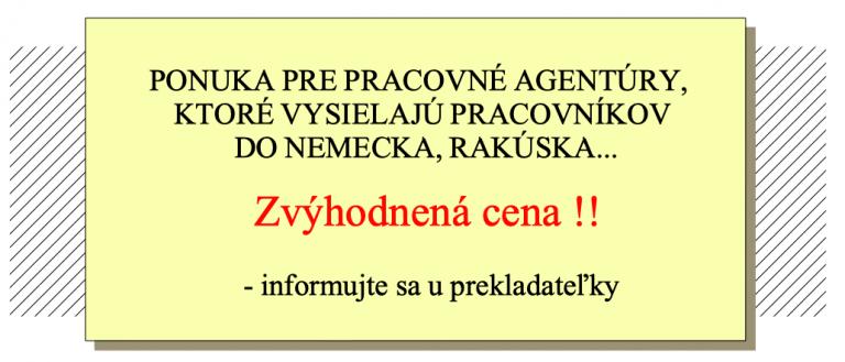 Banner - zvýhodnená ponuka pre pracovné agentúry - kontaktujte prekladateľku